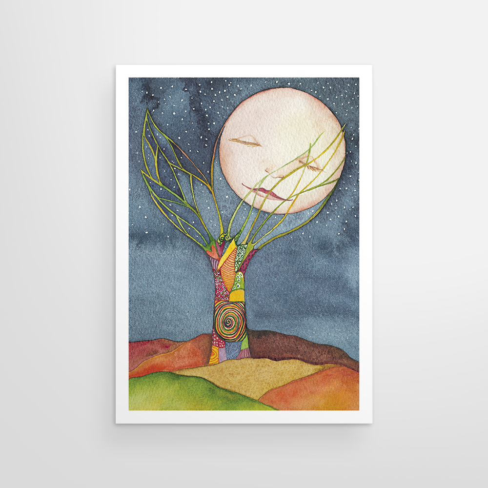 Sleeping Moon Patchwork Tree (Night)